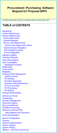 Procurement/Purchasing selection tools RFP for Purchasing software